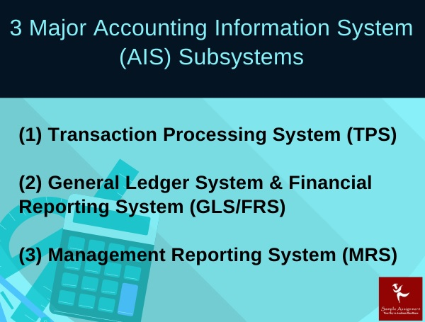 3 major accounting information system AIS subsystems