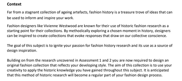 bachelor of branded fashion design sample assignment context