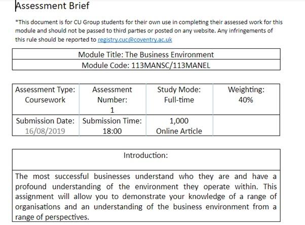 business environment assessment brief