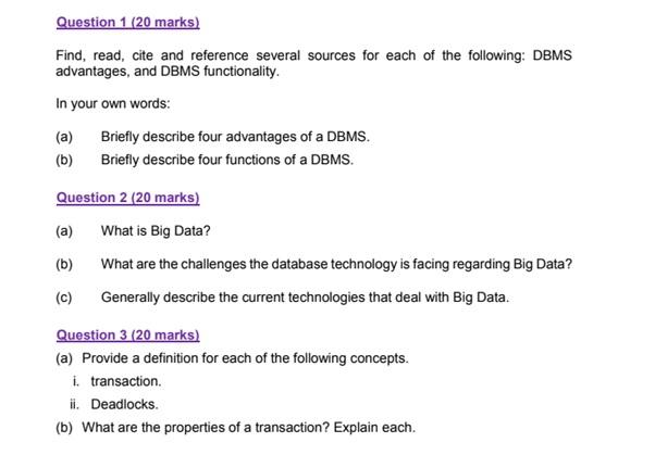 dbms assignment sample question