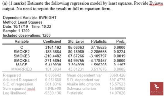 econometrics homework help solved sample question