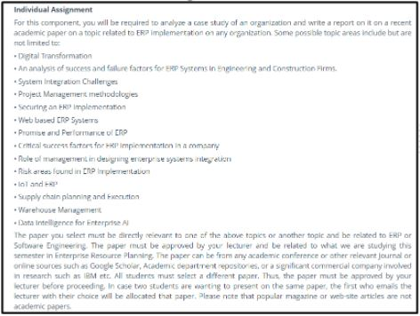 enterprise resource planning assignment help sample online