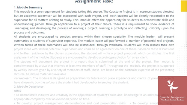 extended project computing sample assignment task