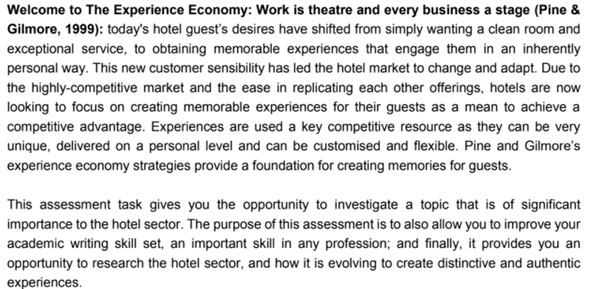 hotel management assignment sample