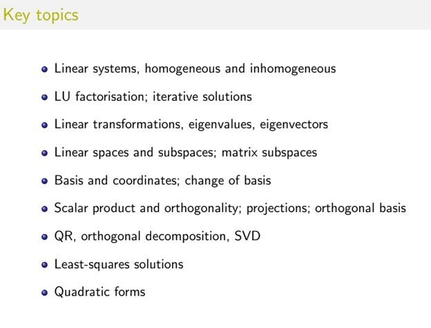 key topics of linear algebra assignment