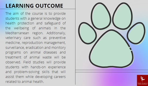 learning outcome of animal health and disease assignment online