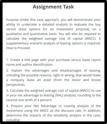 leasing sample assignment task online