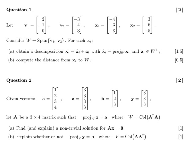 linear algebra assignment help sample example