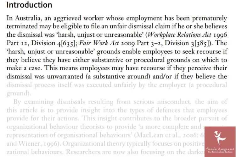 organizational justice assignment sample canada
