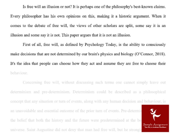 philosophy assignment sample answer