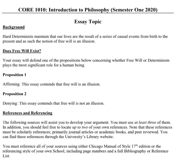 philosophy assignment sample question