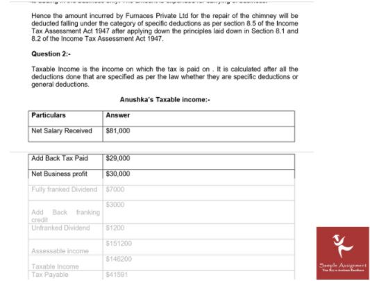 principles of taxation assignment sample solution