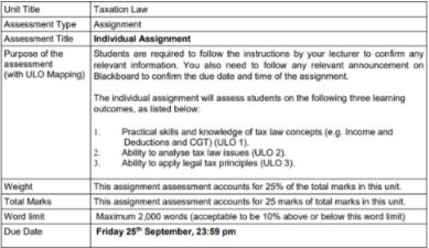 principles of taxation assignment sample