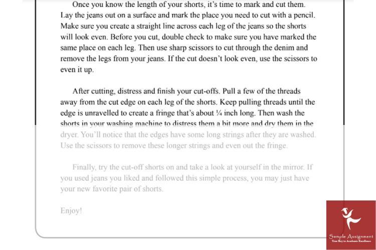 process analysis essay writing sample
