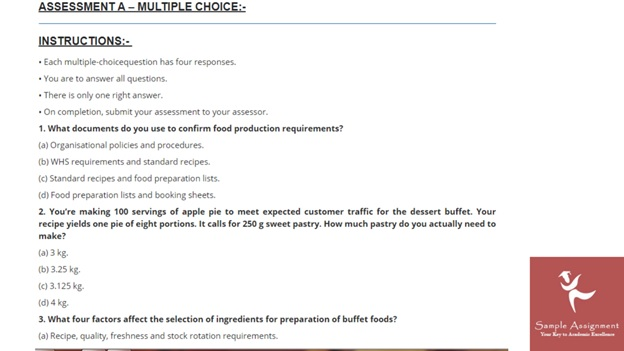 produce serve food assignment help sample