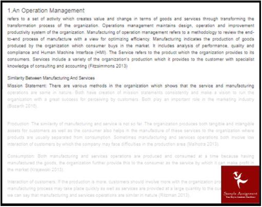 production management assignment help sample online