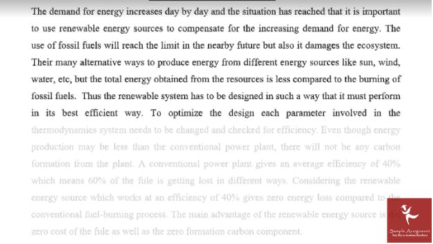 renewable energy assignment help sample online