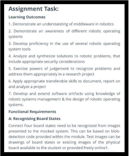 robotics assignment task sample