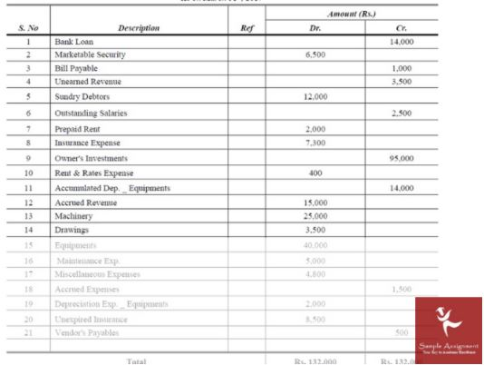 trial balance assignment sample online