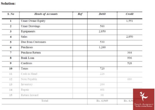 trial balance assignment sample solution