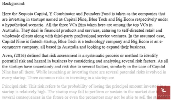 venture capital assignment sample answer