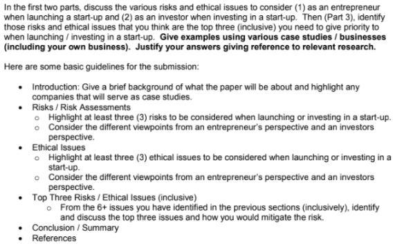 venture capital assignment sample question