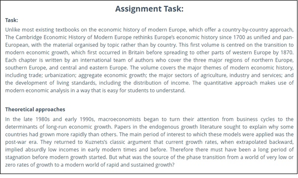 Economic History Assignment tasks