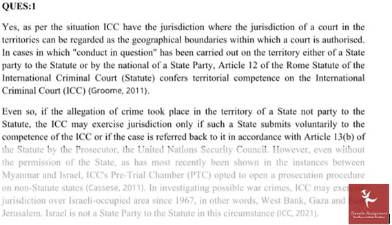 International Criminal Law Assignment Question Answer