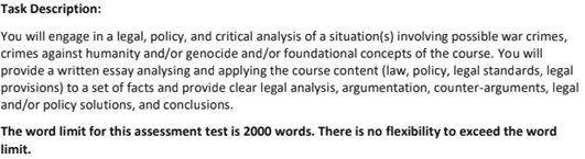 International Criminal Law Assignment Question