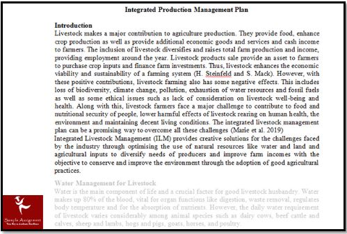 Livestock Production Systems Dissertation Help Assignment Solution