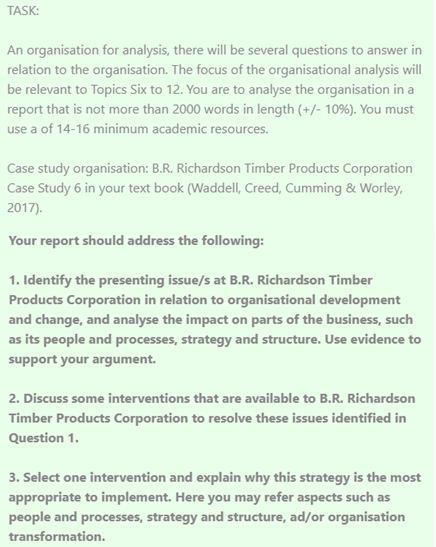 Organisational analysis dissertation help