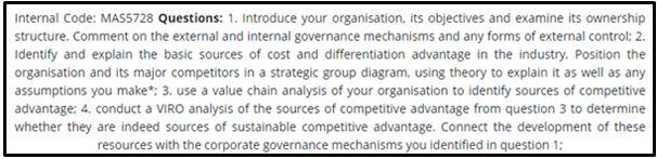 Strategic Management Capstone Assignment Question