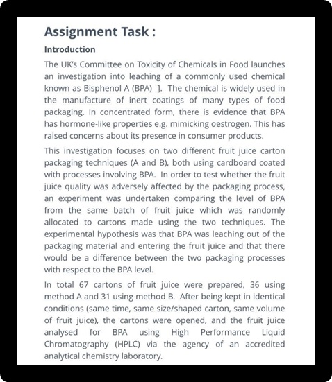 analytical chemistry sample assignment task