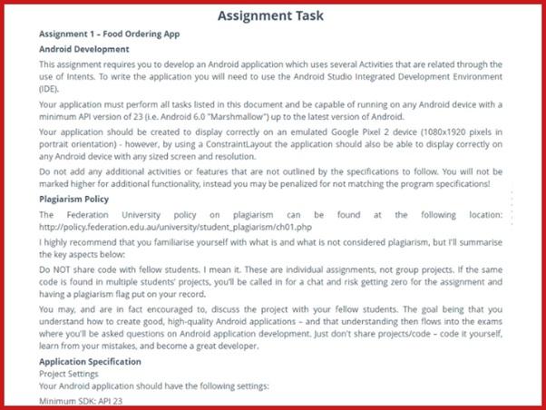 application developer homework sample task