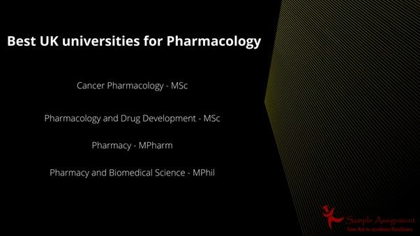 best uk universities for pharamacology