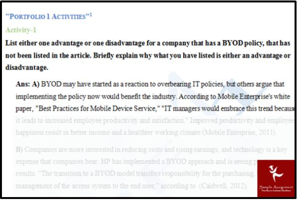 byod assignment answer sample