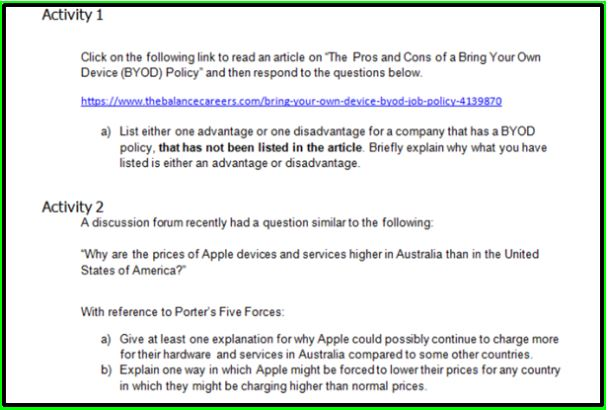 byod assignment sample