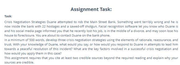 crisis negotiation strategies report writing Help
