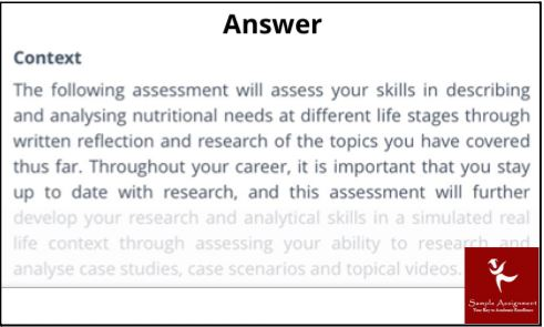 exercise nutrition assignment sample online