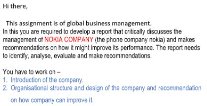 global business management assignment sample