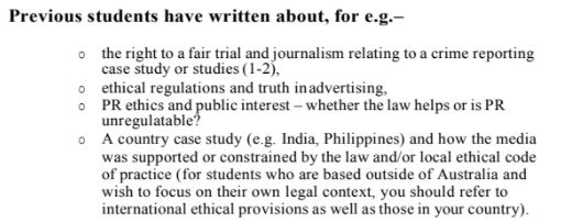 graduate diploma of journalism assignment sample question