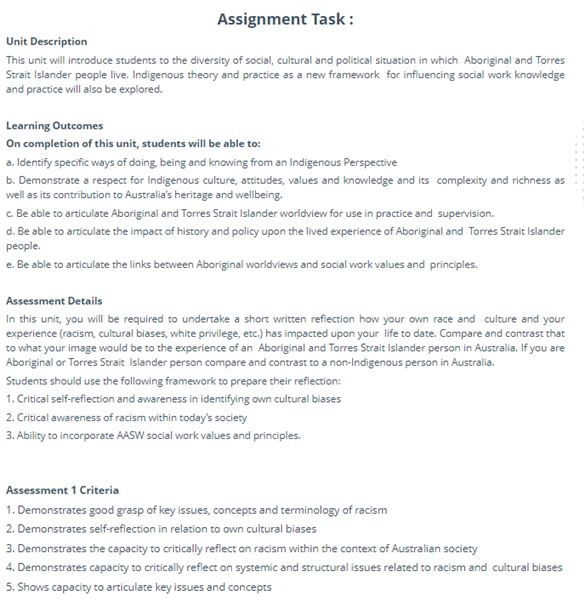 help with Indigenous social work assignments