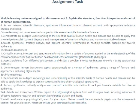 human physiology assignment sample