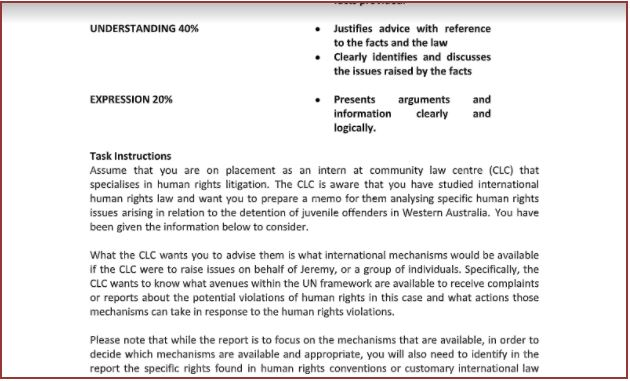 human rights assignment sample
