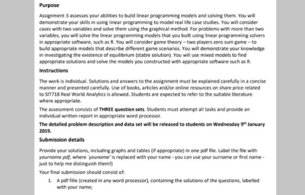 linear programming assignment sample