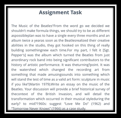 music sample assignment task