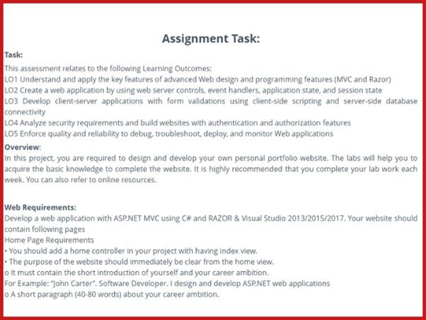 online application developer homework sample task