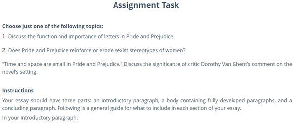 pride and prejudice essay writing online