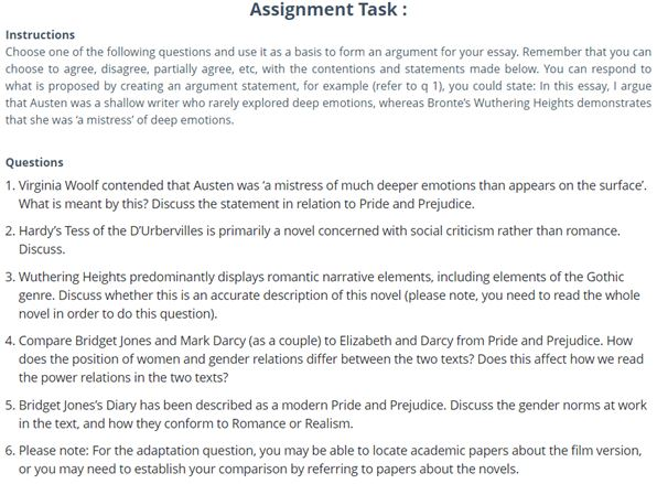pride and prejudice essay writing sample