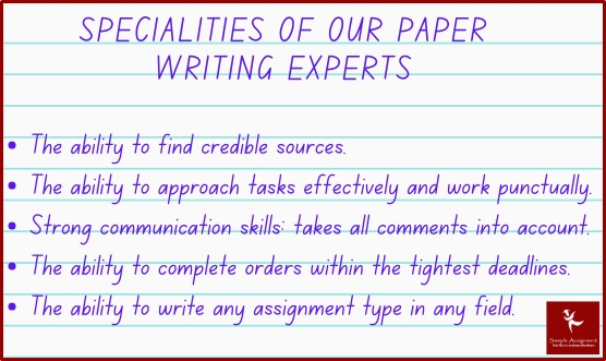 specialities of our paper writing experts